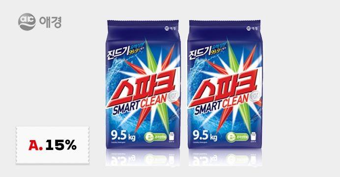 [15%쿠폰]스파크 세탁세제 9.5kg 2개
