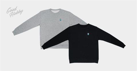 굿하비 맨투맨 티셔츠 블랙/그레이
