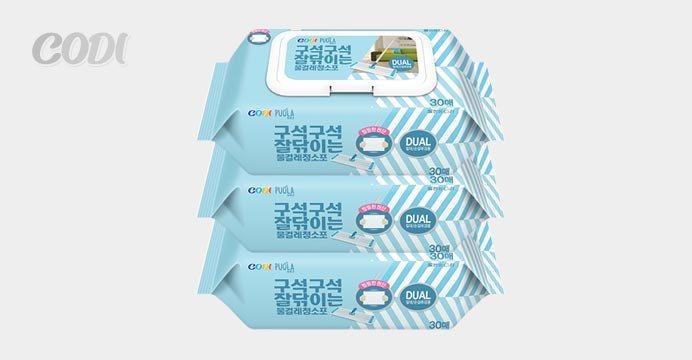 [코디] 퓨올라 물걸레청소포(캡) 30매 3팩