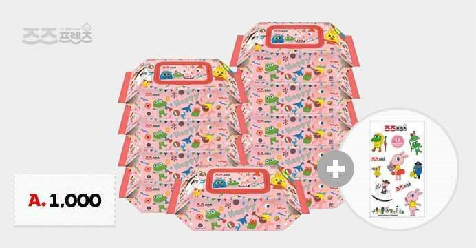 굴리굴리 아기물티슈캡형80매10팩 + 스티커