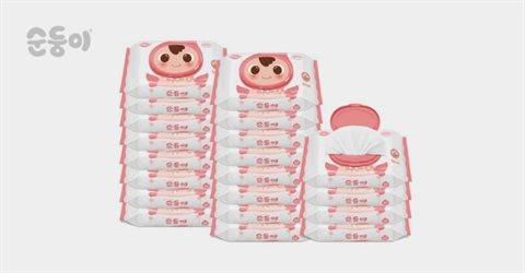 순둥이 엠보싱 물티슈 휴대 캡형 20매 20팩