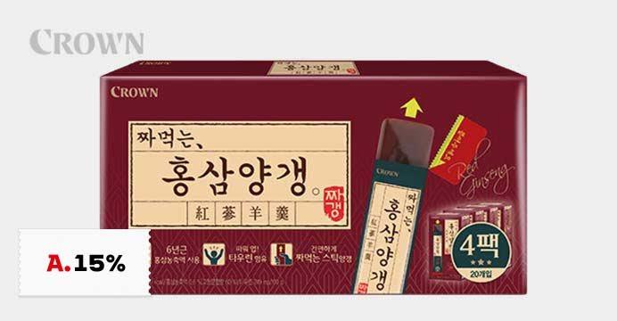 [15%쿠폰] 크라운 홍삼 양갱 1세트 (4박스)