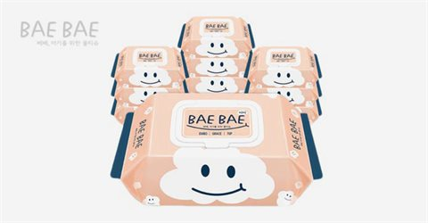 BAEBAE 아기물티슈 GRACE 캡형 70매 10팩