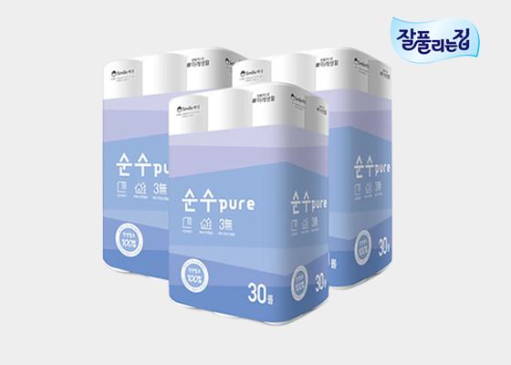 [단독판매] 순수 PURE 천연펄프 25m 30롤 3팩