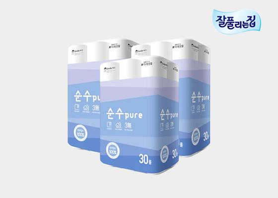 [단독 판매] 순수 PURE 천연펄프 30롤 3팩