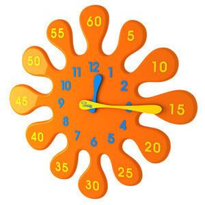 오렌지물방울시계-5분이면 아이들이 시계를 읽을 수 있습니다.-무소음무브먼트