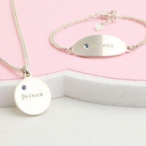 프린스 미아방지 실버목걸이 은 아기선물 돌 무료각인