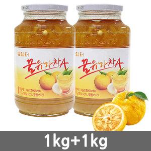 담터 꿀유자차A 1kg+1kg/꽃샘/유자차/꿀레몬차/생강차