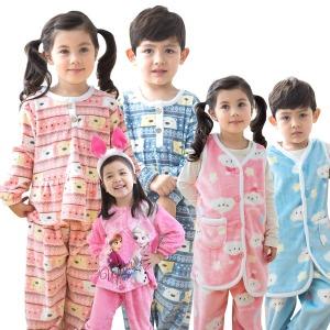 파격가)유아 아동 수면 잠옷 극세사 조끼 바지 주니어