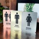 메탈 화장실 사인 남자 여자 표지판 표시판 안내판