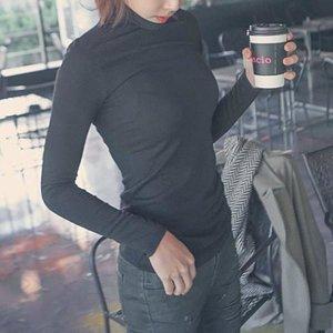 여성롱폴라티셔츠-3983/여자기본무지기모면폴라티셔츠