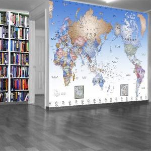명품세계지도포인트벽지/실크/양면테잎형/시트지/DIY