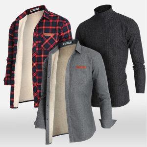 A남성셔츠/양털셔츠/기모남방/폴라티/목폴라/체크남방