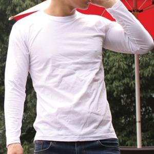 긴팔 라운드 무지 티셔츠