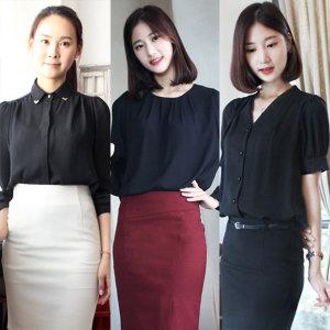 여성정장블라우스/블랙쉬폰/검정남방/유니폼/연주복
