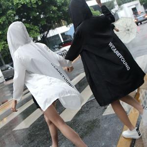 세로영문바람막이/후드점퍼/여성비옷/비치웨어k