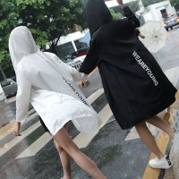 세로영문바람막이/후드점퍼/여성비옷/비치웨어