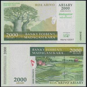 마다가스카르 2000 Ariary 2012년 UNC P.93 기념권