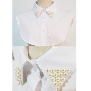 진주카라)목만있는카라/기본남방/흰색셔츠/진주장식