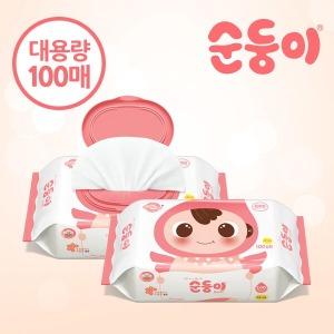 아기물티슈/베이직무향플러스/대용량/100매/리필/캡