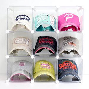 엠블럭9칸형(앞/뒤덮개별도) 모자수납장 모자진열장