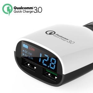 LED USB듀얼 차량 고속충전기 배터리 전압체크/QC 3.0