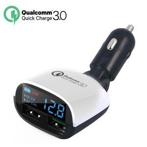 차량용 퀄컴3.0 LED 모니터 듀얼 2.4A 고속충전기
