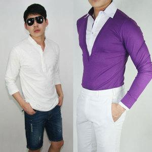 남성/남자 브이넥티셔츠  레이어드셔츠