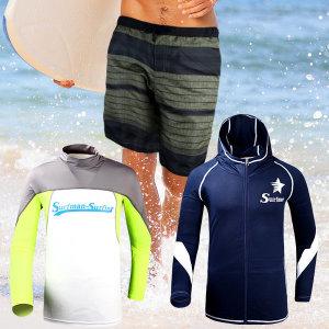 래쉬가드 남자비치웨어 수영복반바지 7부5부 쿨티셔츠