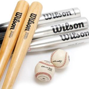 윌슨 유소년 성인용 나무 알루미늄 야구배트 야구공