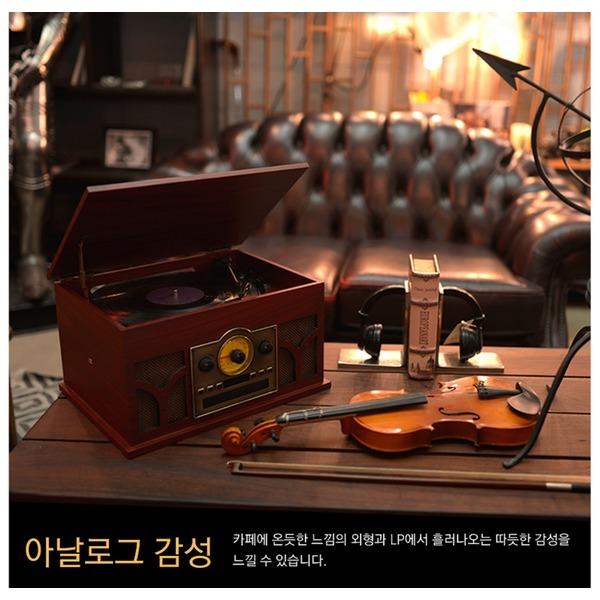 엔틱 복고풍 턴테이블 FM/AM 라디오 CD AUX-IN Ncv5