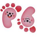 야광발바닥 스티커 F-165 통통 핑크동물 5매