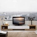다올퍼니 확장형 거실장 TV다이 티비다이 천연 무늬목