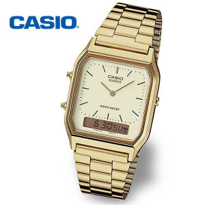 (현대Hmall) 정품  CASIO 카시오 AQ-230GA-9DMQ 듀얼타임 오토캘린더 남성 금장 메탈시계