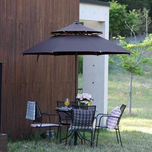 철제4인세트/파라솔 테이블 의자 받침포함/정원/카페