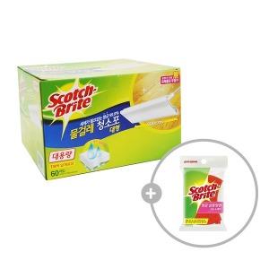 대형 대용량 물걸레 청소포 60매 +항균 고운 수세미