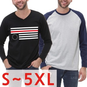 S~5XL맨투맨/V넥/빅사이즈남성의류/헨리넥/긴팔큰옷