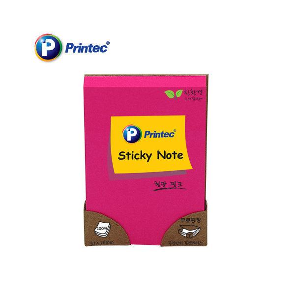 형광스티키노트(N5176P 핑크 프린텍)