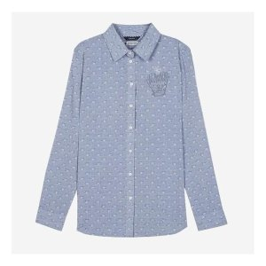 HSSH7B202G2 그레이 별 프린트 면 캐주얼 셔츠