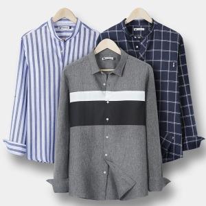 A남성셔츠/남자남방/헨리넥/스트라이프/긴팔/가디건