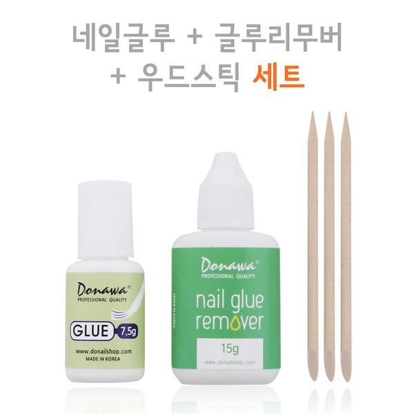 네일글루/리무버 세트 팁접착제 젤아트재료 우드스틱