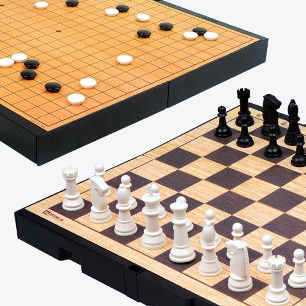 명인랜드 M-250 중형 양면 자석 바둑+체스