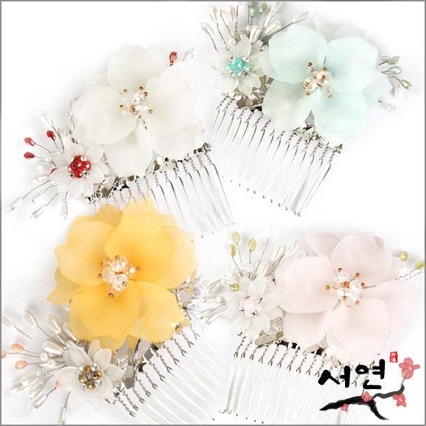 서연한복/바람꽃가지헤어빗핀/헤어핀/머리핀/장신구