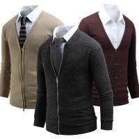 남자 브이넥 가디건/니트 롱 기본 남성 티셔츠 집업