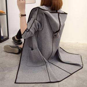 테두리배색방울자켓/후드방울코트/방울후드오픈코트n