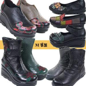 가죽 여성단화 로퍼 통굽신발 구두부츠 효도화 앵클