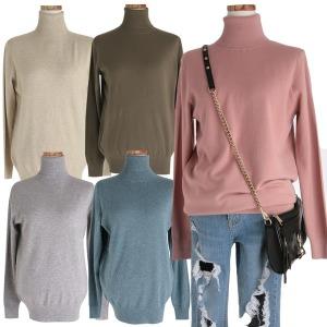 캐시미어 울 목폴라 12색 긴팔티셔츠 여성 니트 겨울