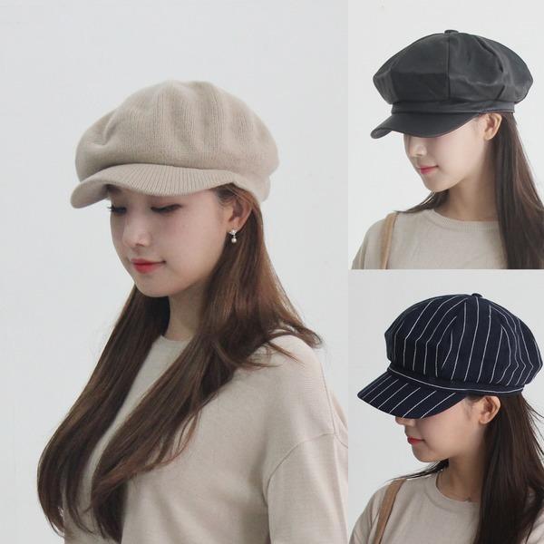 최신유행 베레모 헌팅캡 팔각모자 여성 니트 빵모자