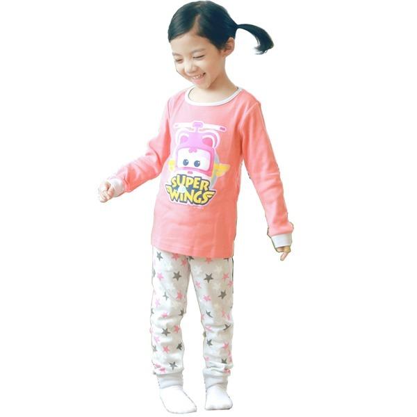 슈퍼윙스 캐릭터 아동내복 핑크 순면100 무료배송