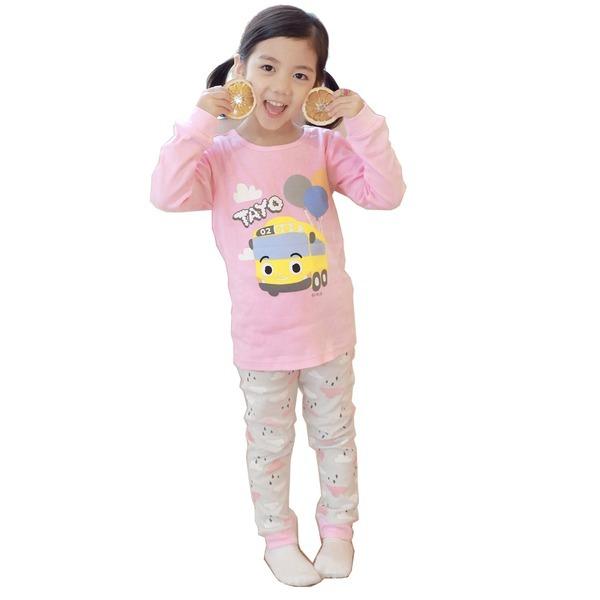 타요-2 캐릭터 아동내복 핑크 후라이스 순면100